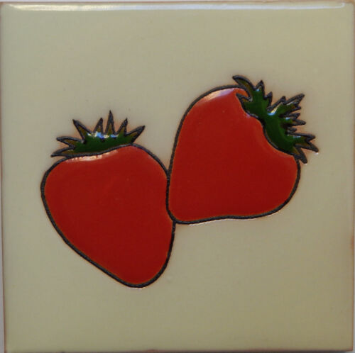 Mexican Tile Malibu Fruit Santa Barbara Tiles Cuerda Seca Strawberries F-20