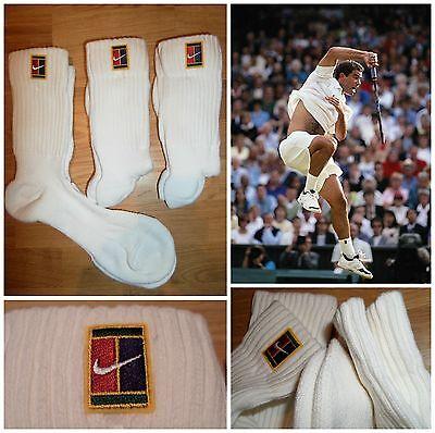 Vtg 90s NIKE SUPREME COURT SAMPRAS Tennis Crew Socks 3 PAIR Retro Men's OG NEW