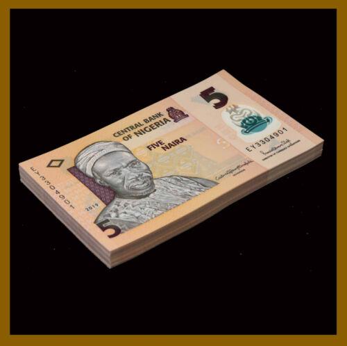 Nigeria 5 Naira x 100 Pcs Bundle, 2019 P-New Polymer Unc