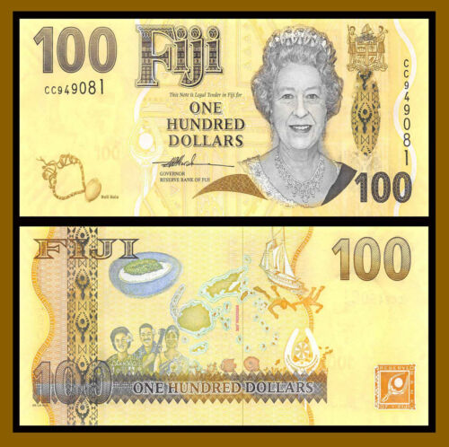 Fiji 100 Dollars, 2007 P-114 Queen Elizabeth II Banknote Unc