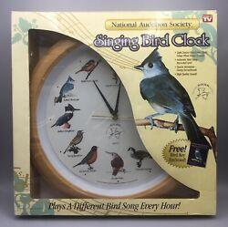 National Audubon Society Singing Bird Clock Oak Wood Grain New Open Box