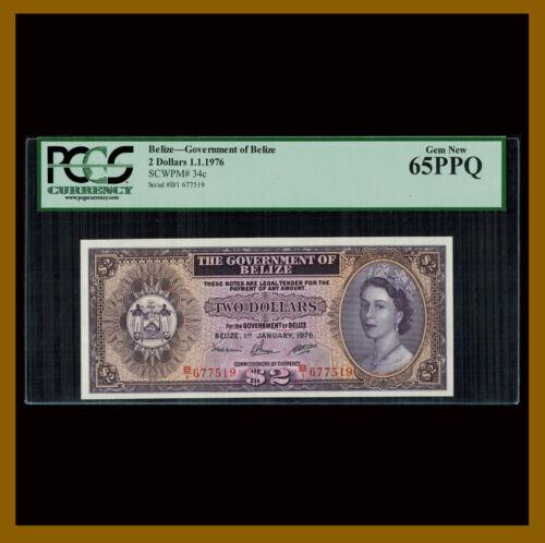 Belize 2 Dollars, 1976 P-34c PCGS 65 PPQ Queen Elizabeth II Unc /LA
