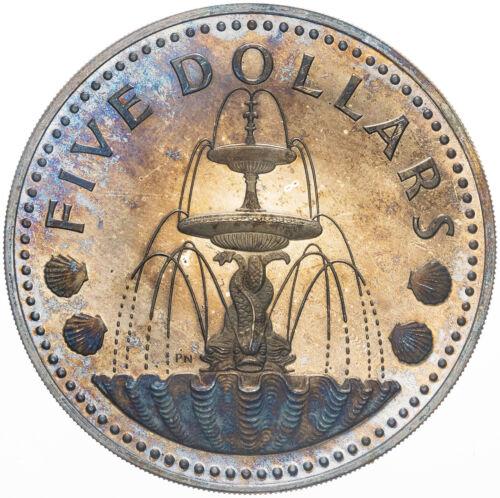 1973 BARBADOS FIVE DOLLARS SILVER UNC STRIKING COLOR DEEP BOLD TONED GEM BU (MR)