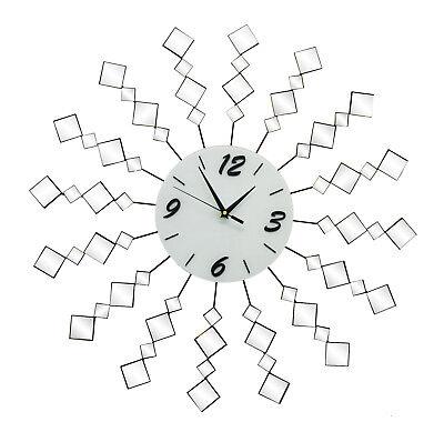 - Mirror & Metal Round Wall Clock Geometric Mirrors On Spokes Sunburst Pattern