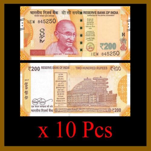 India 200 Rupees x 10 Pcs, 2017 P-113 New Design Gandhi Unc