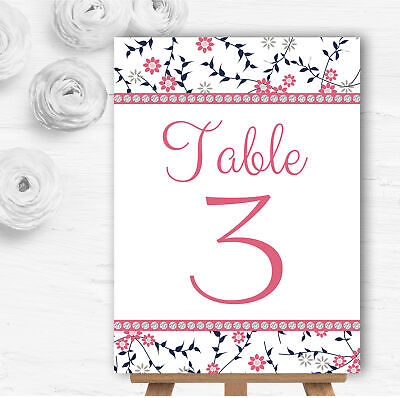 Dusty Coral Pink And Navy Blue Floral Wedding Table Number Name - Pink And Navy Wedding