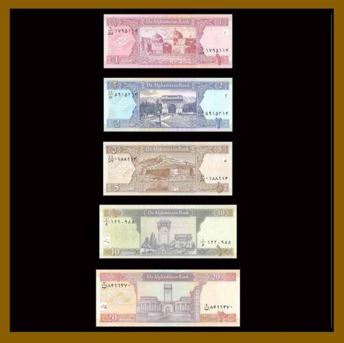 Afghanistan 1 2 5 10 20 Afghanis (5 Pcs Set), 2002-2008 P-64/65/66/67/68 Unc