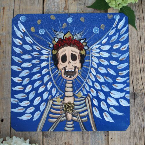 Day of the Dead Tin Retablo Skeleton Angel Hand Painted Oaxaca Mexican Folk Art