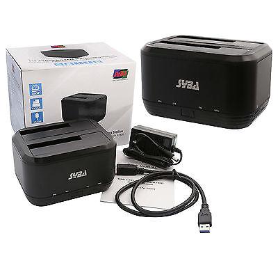 Syba USB 3.0 Dual Bay SATA HDD Docking Station For SATA 1-2-3 HDD/SSD, ENC50091