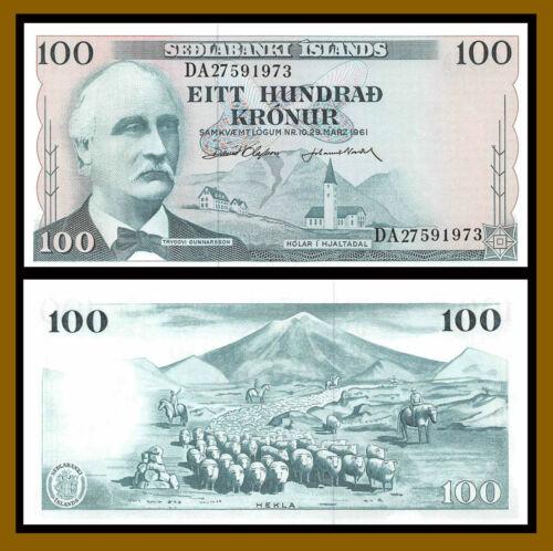 Iceland 100 Kronur, L.1961 P-44 Signature Type 1 Banknote Unc