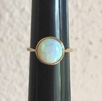 Modernist 1+ Ct White Opal Solitaire 14k Gold Engagement Ring Vintage 1970s