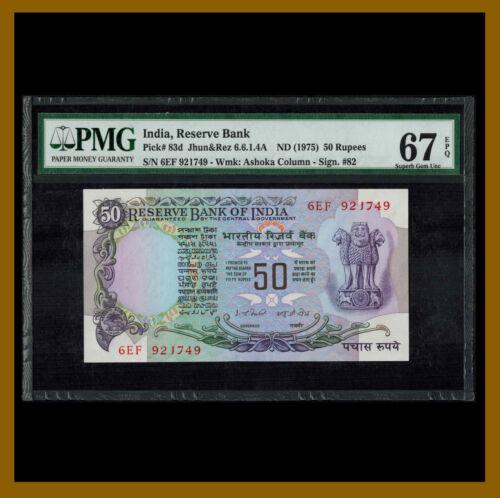 India 50 Rupees, 1975 P-83d Sign. #82 PMG 67 EPQ Unc