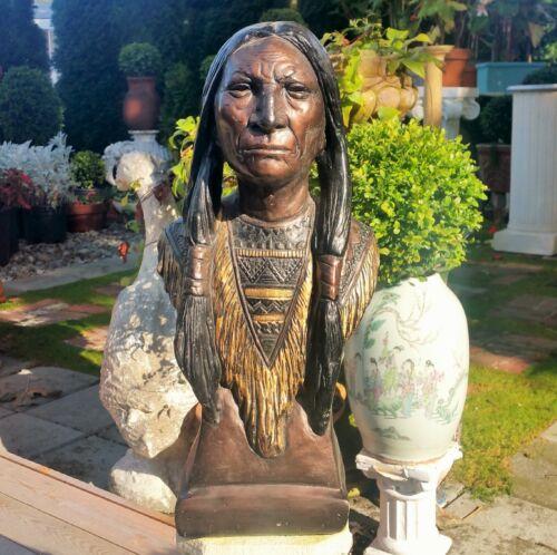 "18"" antique cigar store indian countertop display statue vtg chalkware tobacco"