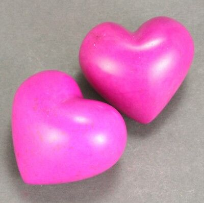 - (Set of 2) Pink hearts - Soapstone - Hand carved & decorated in Kenya
