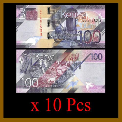 Kenya 100 Shillings x 10 Pcs, 2019 P-New Sheep Uncirculated Unc