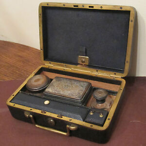 antique-high-quality-MG-Paris-French-vanity-grooming-bronze-box-leather-set-1800
