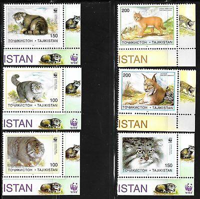 TAJIKISTAN SC 92-98 NH issue of 1996 Animals Wild Cats WWF Set+S/S