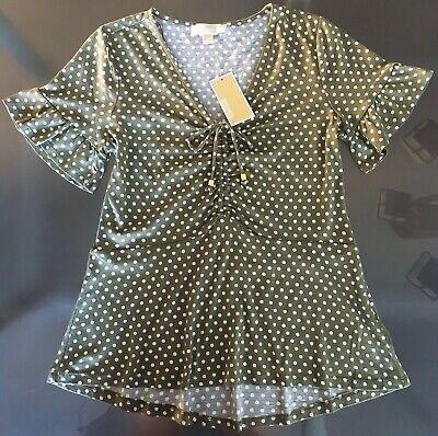 NWT Women's Michael Kors T-Shirt Top Blouse Safari Green Polka Dot S M