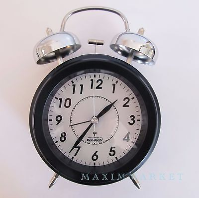 Vintage Atomic Radio Controlled Clock with Twin Mechanical Bell Alarm