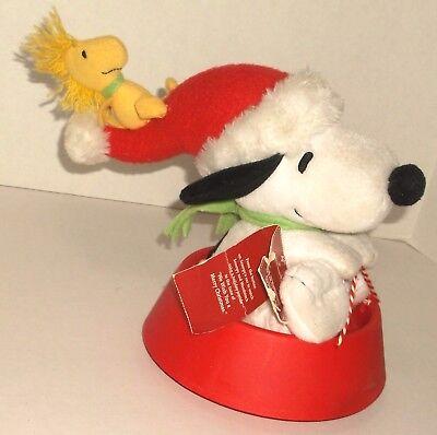 Hallmark JINGLE PALS SLEDDIN SNOOPY music motion SLEDDING DOG BOWL W/ WOODSTOCK