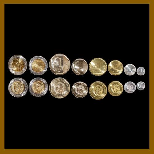 Peru 1- 50 Centimos/Centavos 1 2 5 Soles (8 Pcs Coin Set), 2006-2019 Mint Unc