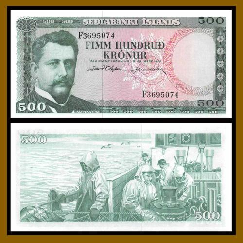 Iceland 500 Kronur, L.1961 P-45 Signature Type 2 Banknote Unc