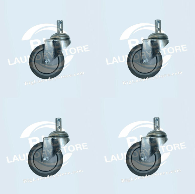 """4 x 4"""" LAUNDRY CART CASTER WHEEL, ROUND POST FOR R&B WIRE C87, RB87G, CSTR87G"""