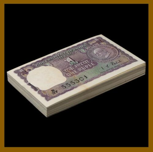 "India 1 Rupee x 100 Pcs Bundle, 1969-70 P-66 ""B"" Gandhi Fancy S/N 555333 Pinhole"
