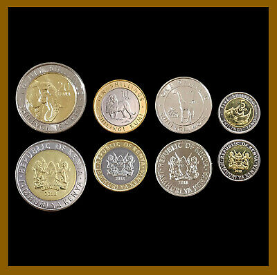 Kenya 1 5 10 20 Shillings (4 Pcs Coin Set), 2018 Animals Bimetallic Unc