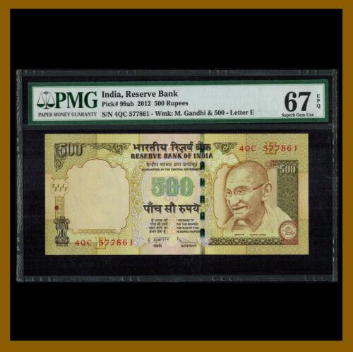 """India 500 Rupee, 2012 P-99ab Letter """"E"""" Gandhi PMG 67 EPQ Unc"""