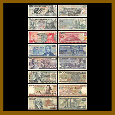 Mexico 5 10 20 50 100 500 1000 2000 Pesos (8 Pcs Set), 1969-1989 Used Circulated