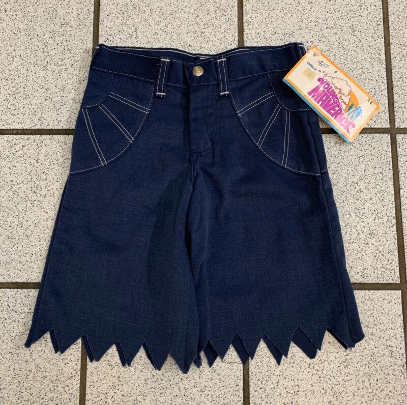 Vintage Girls Shorts Handkerchief Hem Long Blue Boho Hippy Disco 1970s NEW Sz 7