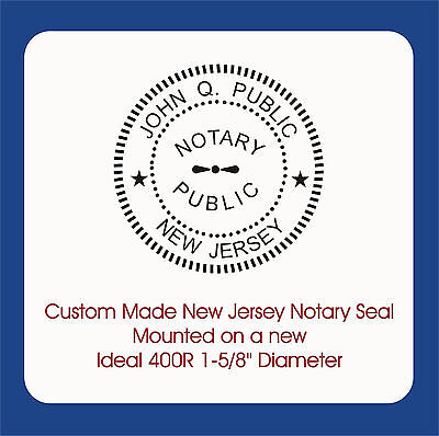 New Jersey Notary Seal-custom Trodat Ideal 400r Self Ink 1-58 Round Image
