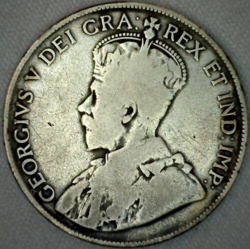 1920 Canada Silver 50 Cents Canadian Fifty Cent Coin VG Very Good K9