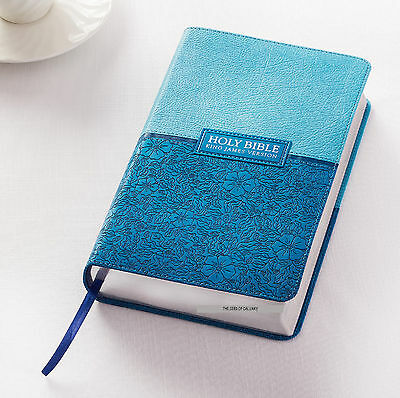 KJV HOLY BIBLE King James Version Large Print Red Letter Edition Two-Tone Blue!
