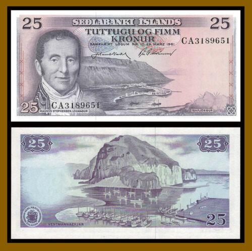 Iceland 25 Kronur, L.1961 P-43 Banknote Unc