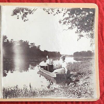 1890s Flat-Bottom Boat Women Summer Fashion Candid Stereoview Albumen Photo