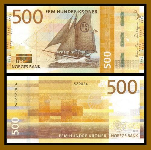 Norway 500 Kroner, 2018 P-56 New Sail Ship Banknote Uncirculated Unc