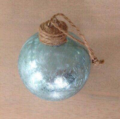 Set of 4 Luxe Habitat LIGHT BLUE GLASS BALL ORNAMENTS ~ Coastal - Light Blue Christmas Ornaments