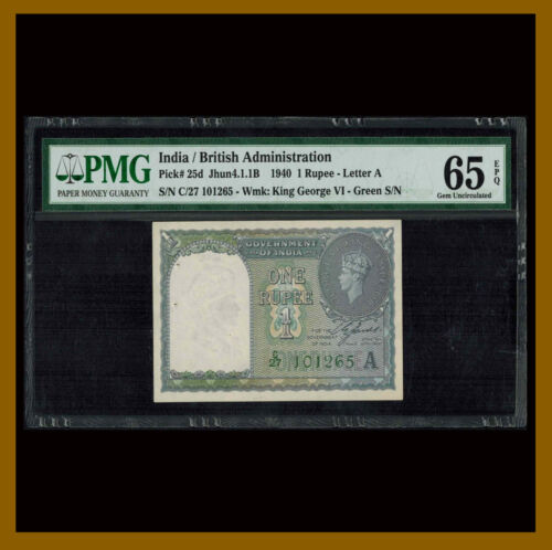 India 1 Rupee, 1940 P-25d King George VI Letter A Green S/N PMG 65 EPQ Unc