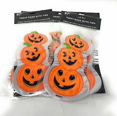 20 Halloween Foods (Halloween Cellophane Treat Bags with Ties 20 count - Food Safe-Lot of 5-100)
