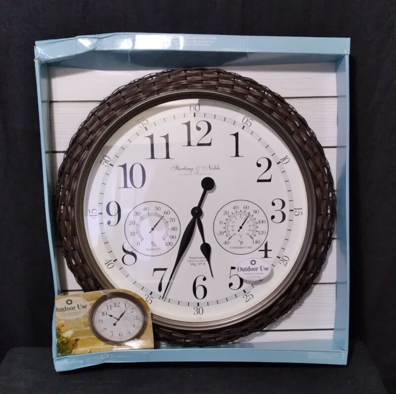 """Outdoor Woven 23.5"""" Wall Clock/Weather Station(Sterl.&Noble)*New(pack.dam.only)"""