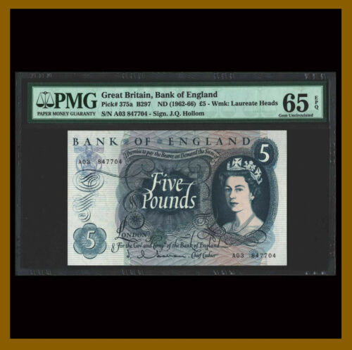 Great Britain (England) 5 Pounds, 1962-1966 P-375a B297 QE II PMG 65 EPQ /LA