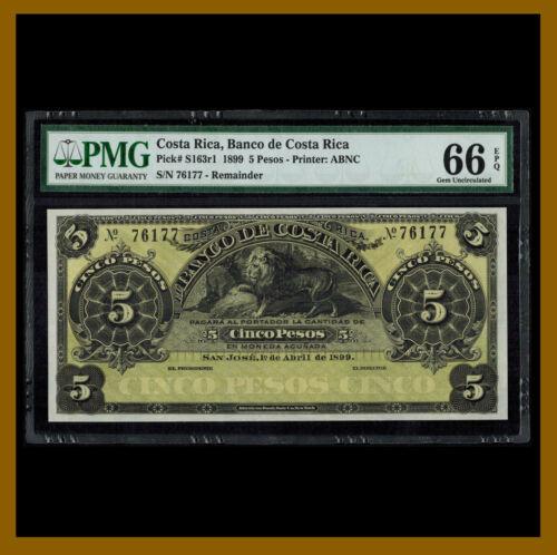 Costa Rica 5 Pesos, 1899 P-S163r1 Remainder PMG 66 EPQ /LA