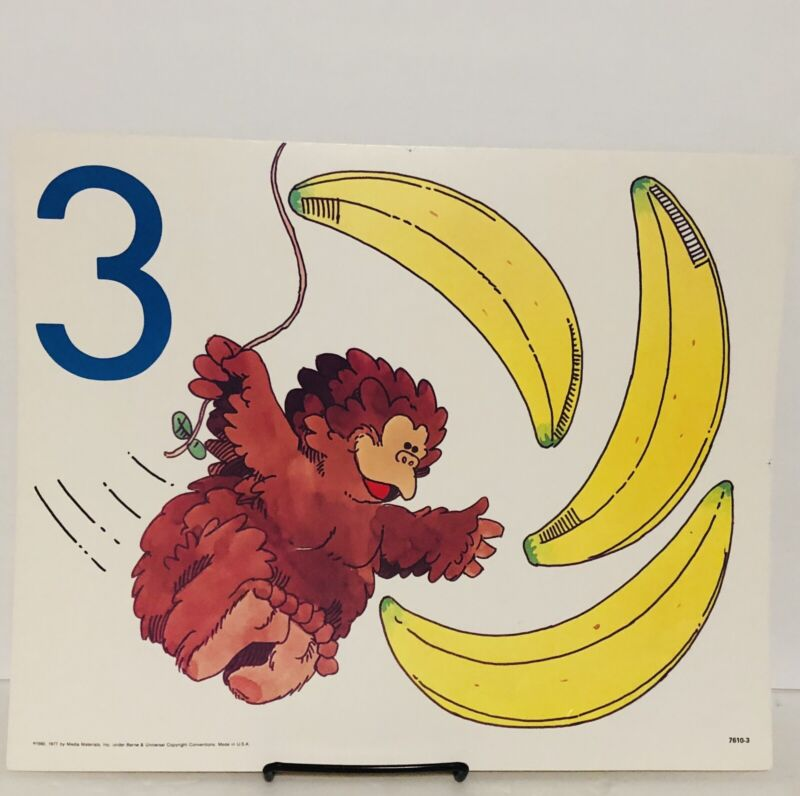 Vintage Number 3 Three Poster Card Electric Company 1985 Educational