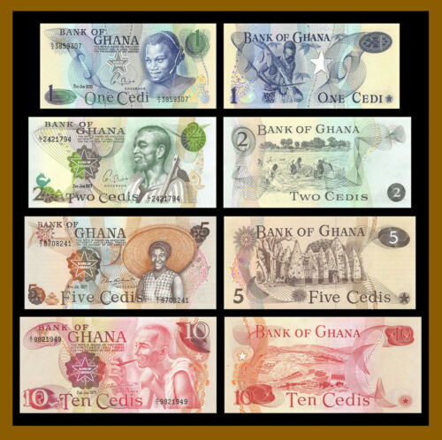 Ghana 1 2 5 10 Cedis (4 Pcs Set), 1976-1978 P-13c/14c/15b/16f Unc