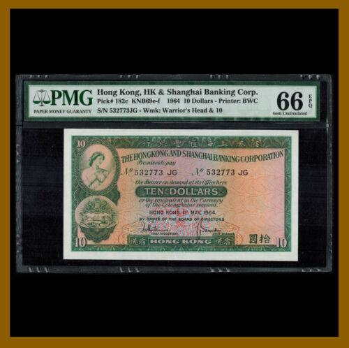 Hong Kong 10 Dollars, 1964 P-182c KNB69e-f PMG 66 EPQ HSBC Uncirculated /LA