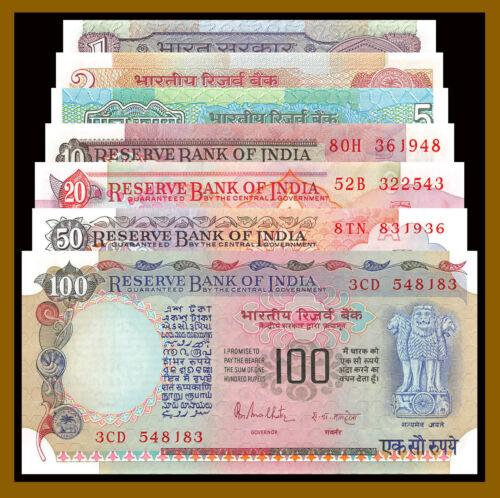 India 1 2 5 10 20 50 100 Rupees (7 Pcs Set), ND 1975 -1996 P-78-86 Unc Pinholes