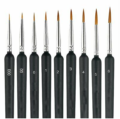 9X Miniature Paint Brush Set Weasel Hair Brush Fine Detail Art Nail Oil Painting Art Supplies