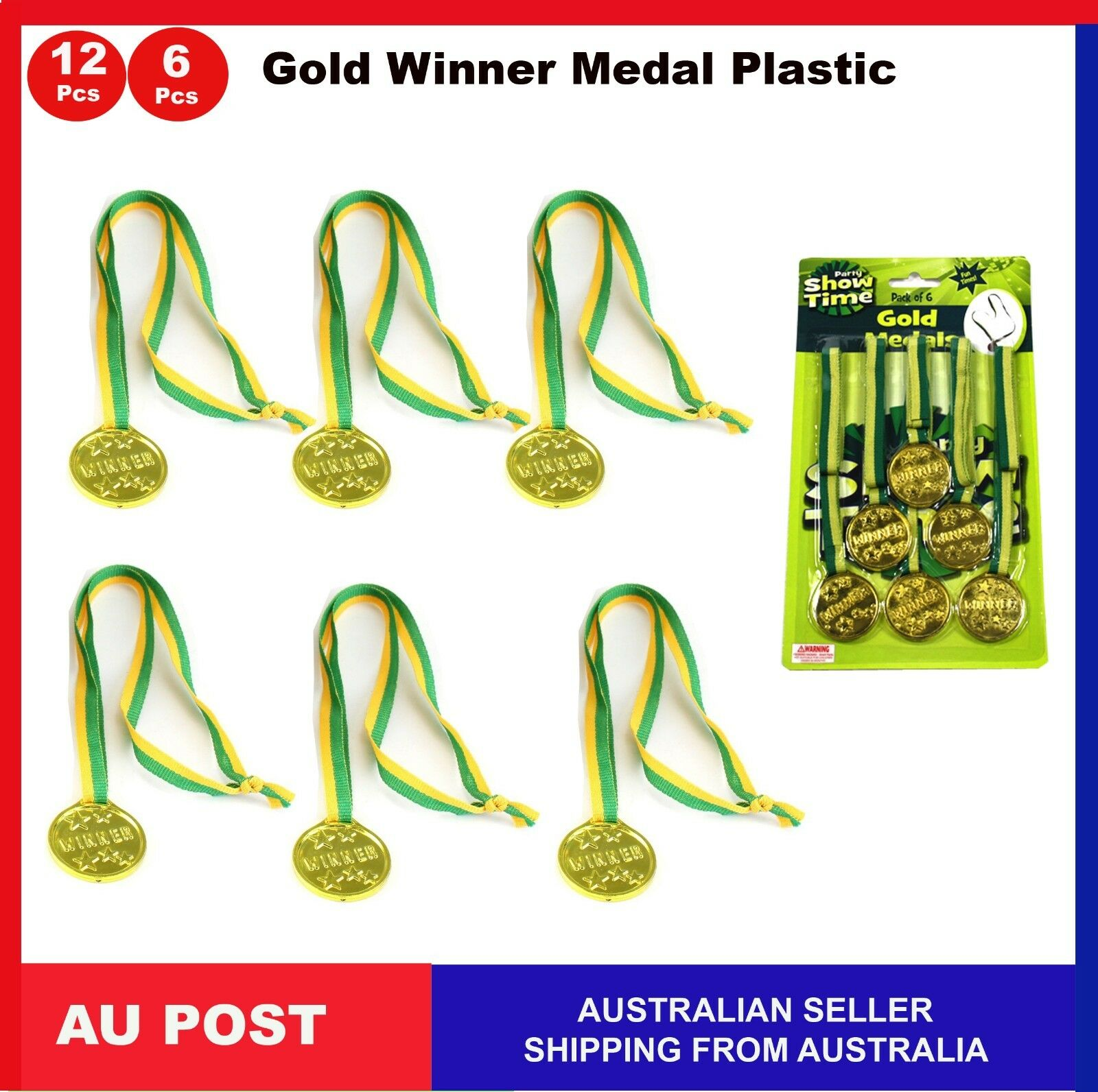 6x Plastic Gold Winners Medal Motivation Kids Sports Day Award Prize Party Toys Party Bag Supplies Party Supplies